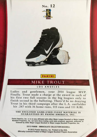 2015 Pinini Immaculate Collection #12 Cleats Mike Trout #1/1