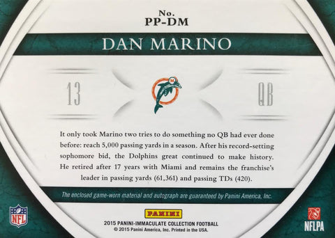 2015 Panini Immaculate Collection Game-Worn Patch Autograph Dan Marino #1/1