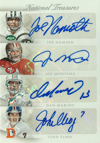2015 Panini National Treasures Football Signatures Joe Namath, Joe Montana, Dan Marino, John Elway, Brett Favre, Tom Brady, Peyton Manning, and Aaron Rodgers #1/1