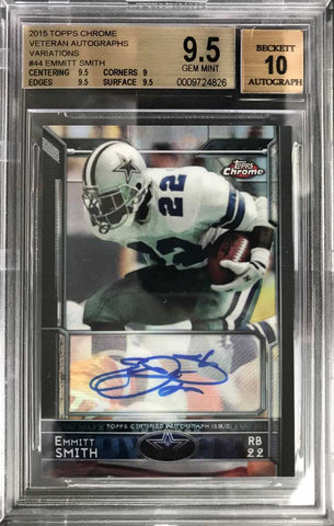 2015 TOPPS Chrome No. 44 Autograph Emmitt Smith (BGS 9.5 Gem Mint)