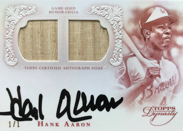 2015 TOPPS Dynasty Collection ADRG-HA4 Game-Used Material Autograph Hank Aaron #1/1