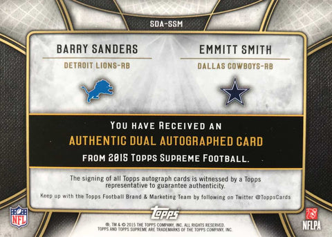 2015 TOPPS Supreme Collection Dual Autograph Barry Sanders and Emmitt Smith #1/1