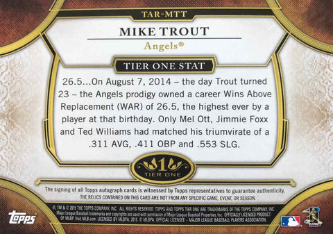 2015 TOPPS Tier One Game-Used Relic Autograph Mike Trout #1/1
