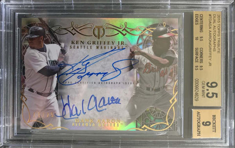 2015 TOPPS Tribute Dual Autograph Hank Aaron and Ken Griffey Jr. #21/25 (BGS 9.5 Gem Mint)