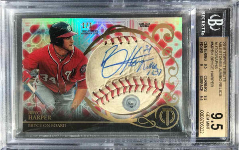2015 Topps Tribute Milestones Jumbo Relic Card No. MR-BH Game-Used Baseball Autograph Bryce Harper #1/1 (BGS 9.5 Gem Mint)