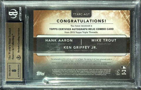 2015 TOPPS Triple Threads Autograph Relic Combo Hank Aaron, Ken Griffey Jr., and Mike Trout (BGS 9.5 Gem Mint)