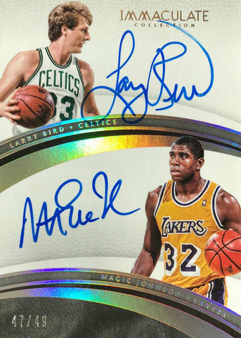 2016-17 Panini Immaculate Collection Basketball No. 31 Dual-Autograph Larry Bird and Magic Johnson #47/49