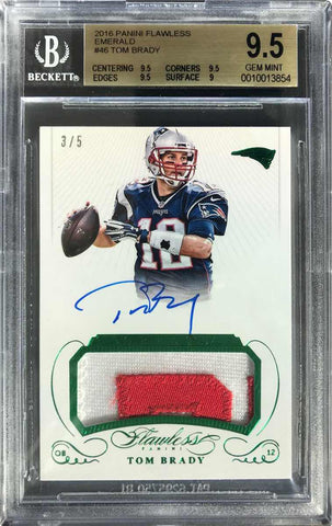 2016 Panini Flawless Football Emerald Card No. GPA-TB Game-Used Material Autograph Tom Brady #3/5 (BGS 9.5 Gem Mint)