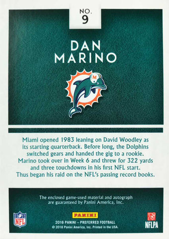2016 Panini Preferred Silhouettes Card No. 9 Game-Used Material Autograph Dan Marino #1/1