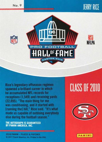2016 Panini Pro Football Hall of Fame Class of 2010 Card No. 9 Autograph Jerry Rice #1/1