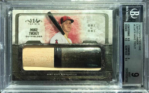 2016 TOPPS Tier One Limited Game-Used Bat Mike Trout #1/1 (BGS 9 Mint)