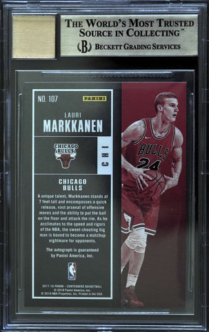 2017-18 Panini Contenders Cracked Ice Rookie Ticket Autograph Lauri Markkanen #4/25 (BGS 9.5 Gem Mint)