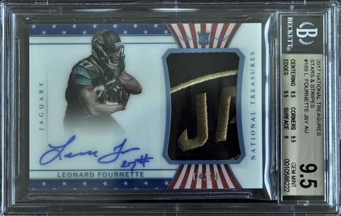 2017 Panini National Treasures Stars & Stripes No. 189 Autograph Leonard Fournette #4/13 (BGS 9.5 Gem Mint)