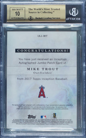 2017 Topps Inception Autographed Jumbo Patch Card No. IAJ-MT Mike Trout #21/50 (BGS 9.5 Gem Mint)