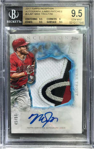 2017 Topps Inception Baseball Player-Worn Patch Card No. IAJ-MT Autograph Mike Trout #45/50 (BGS 9.5 Gem Mint)