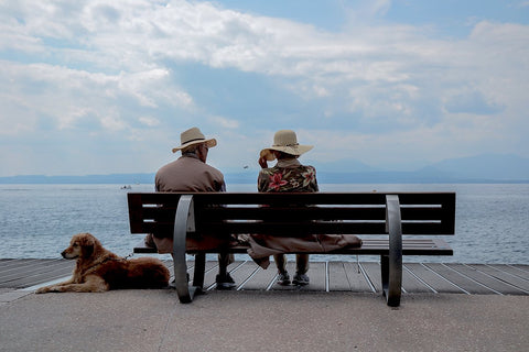 Older couple on bench by the ocean