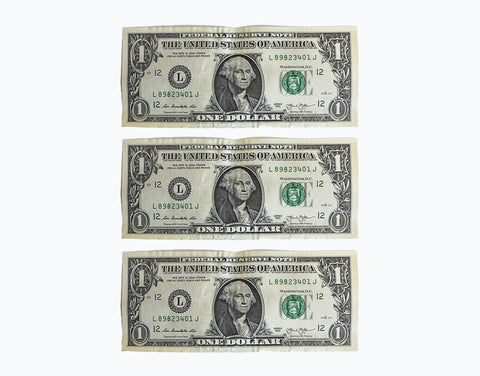 Three dollar bills