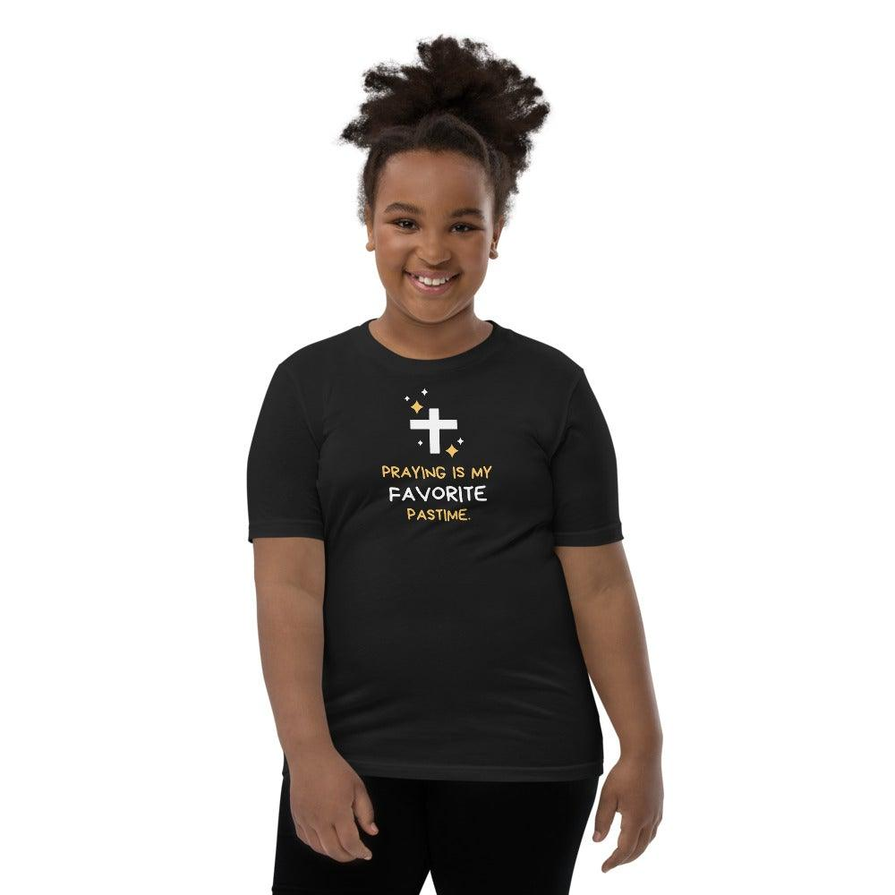 Praying Is My Favorite Past Time- Girl's Big Kids T-Shirt