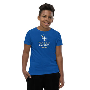 Praying Is My Favorite Past Time- Boy's Big Kids T-Shirt