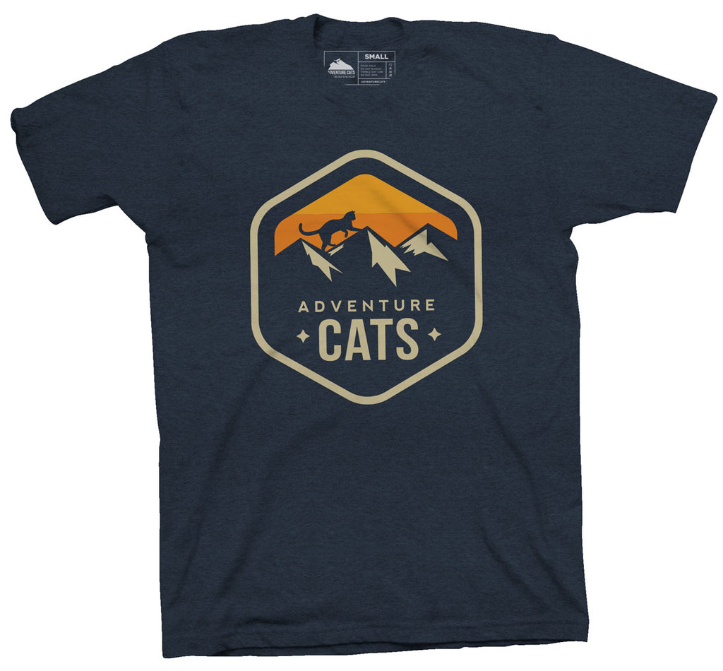 Adventure Cats Large Badge T-Shirt - Navy