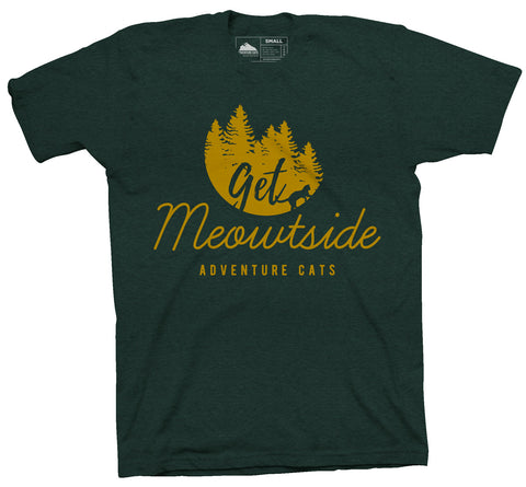 Adventure Cats Get Meowtside T-Shirt - Emerald