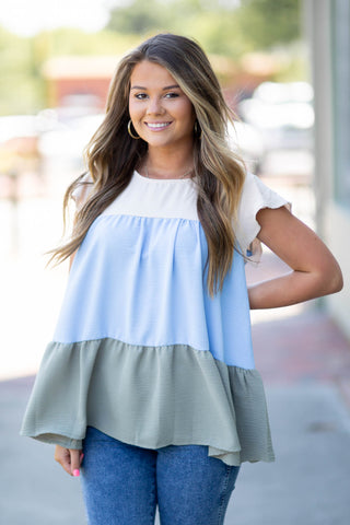Blue Tiered Color Block Blouse, S-3XL