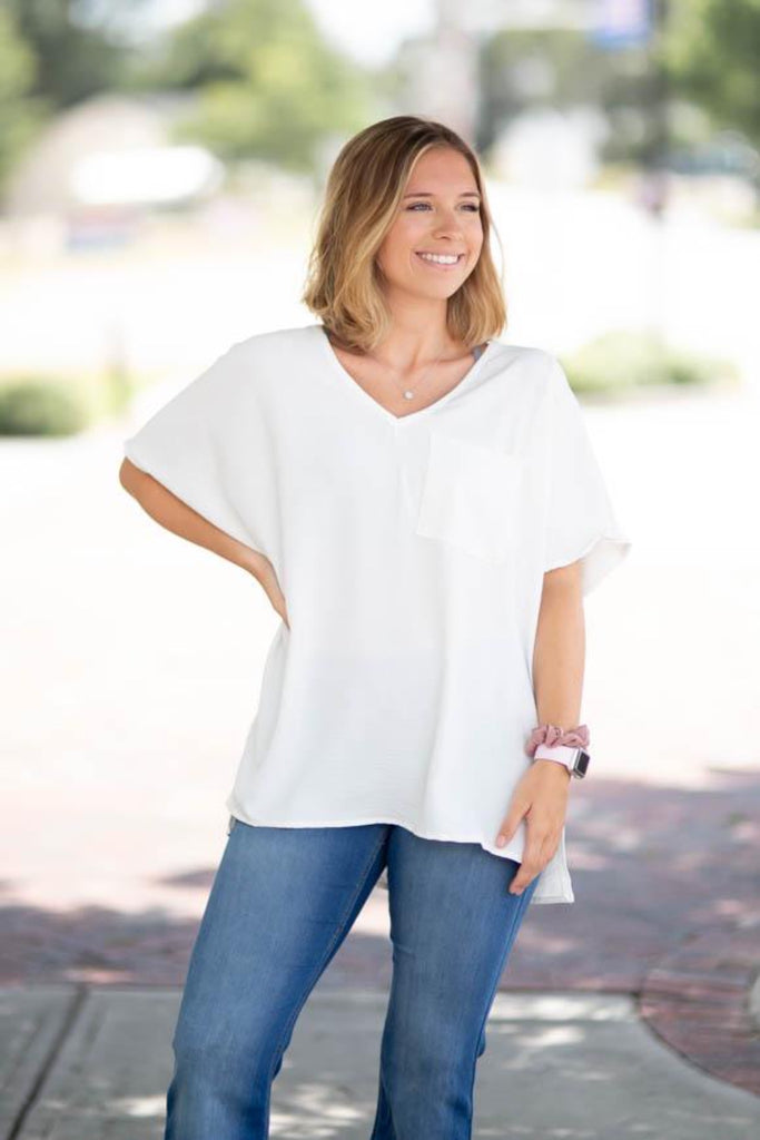 Boxy Pocket Top, IVORY
