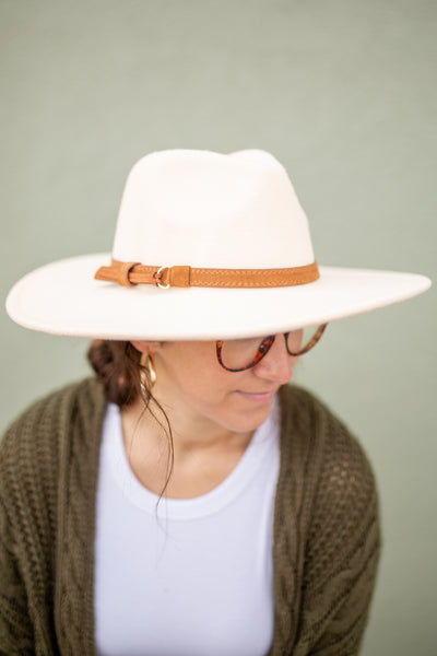 Wide Brim Leather Strap Hat, VARIOUS COLORS