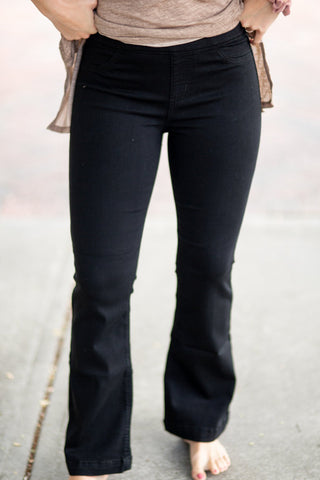Cello Black Flare Denim Jeans, PETITE