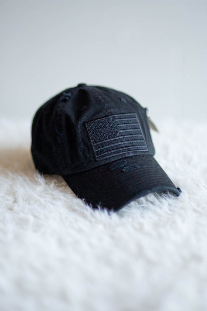 American Flag Black Hat