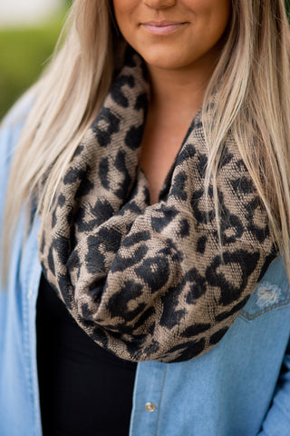 Leopard Blanket Scarf, BLACK OR TAN