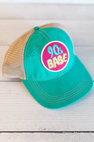 """90s Babe"" Distressed Patch Hat"
