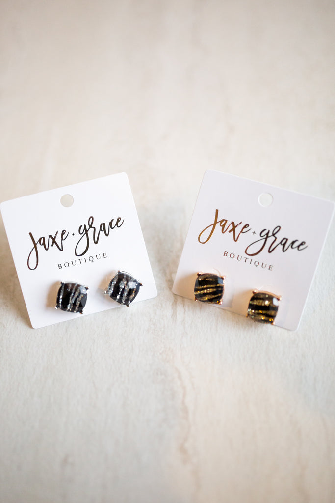 Zebra Square Earrings, GOLD OR SILVER