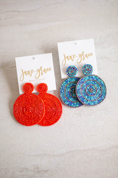Beaded Circle Earrings, VARIOUS COLORS