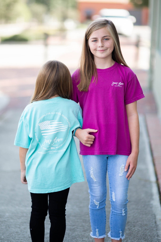 JAXE + GRACE - YOUTH Comfort Color Pocket Tees, FLAG