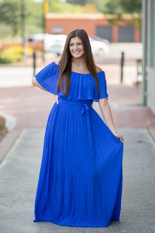 Royal Blue Pleated Off the Shoulder Maxi Dress