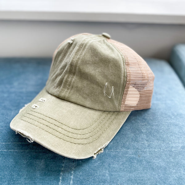 CC Distressed Ponytail Hat, VARIOUS COLORS