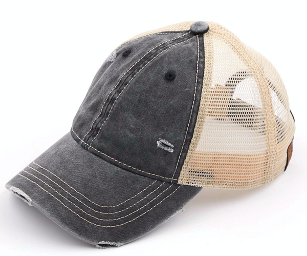 CC Distressed Washed Mesh Baseball Cap, VARIOUS COLORS