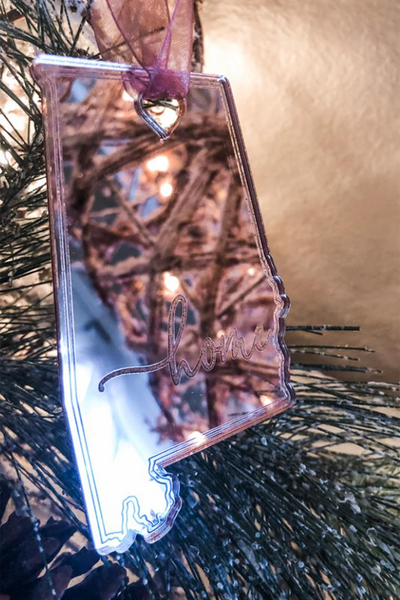Rose Gold State Mirror Ornaments, VARIOUS STATES