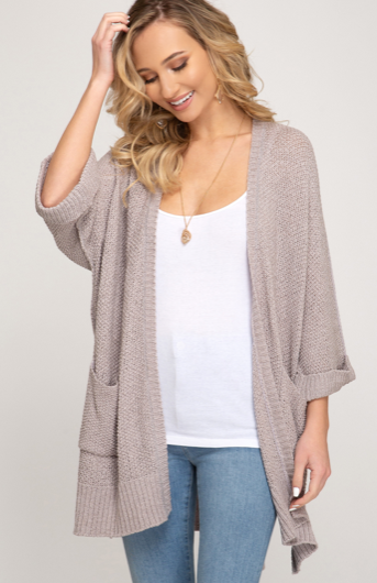Knit Pocket Cardigan, GREY