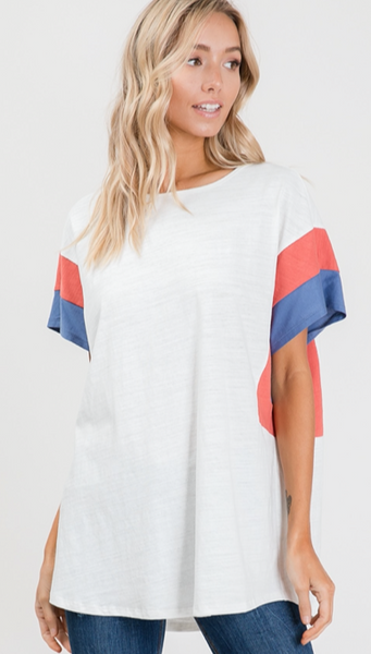 White Multi Sleeve Boxy Top, S-3XL