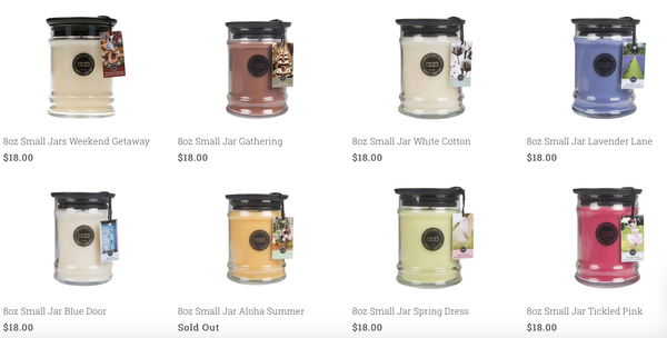 8 oz. Jar Candles - VARIOUS SCENTS