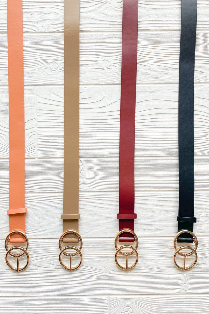 Double O Faux Leather Belt, VARIOUS COLORS