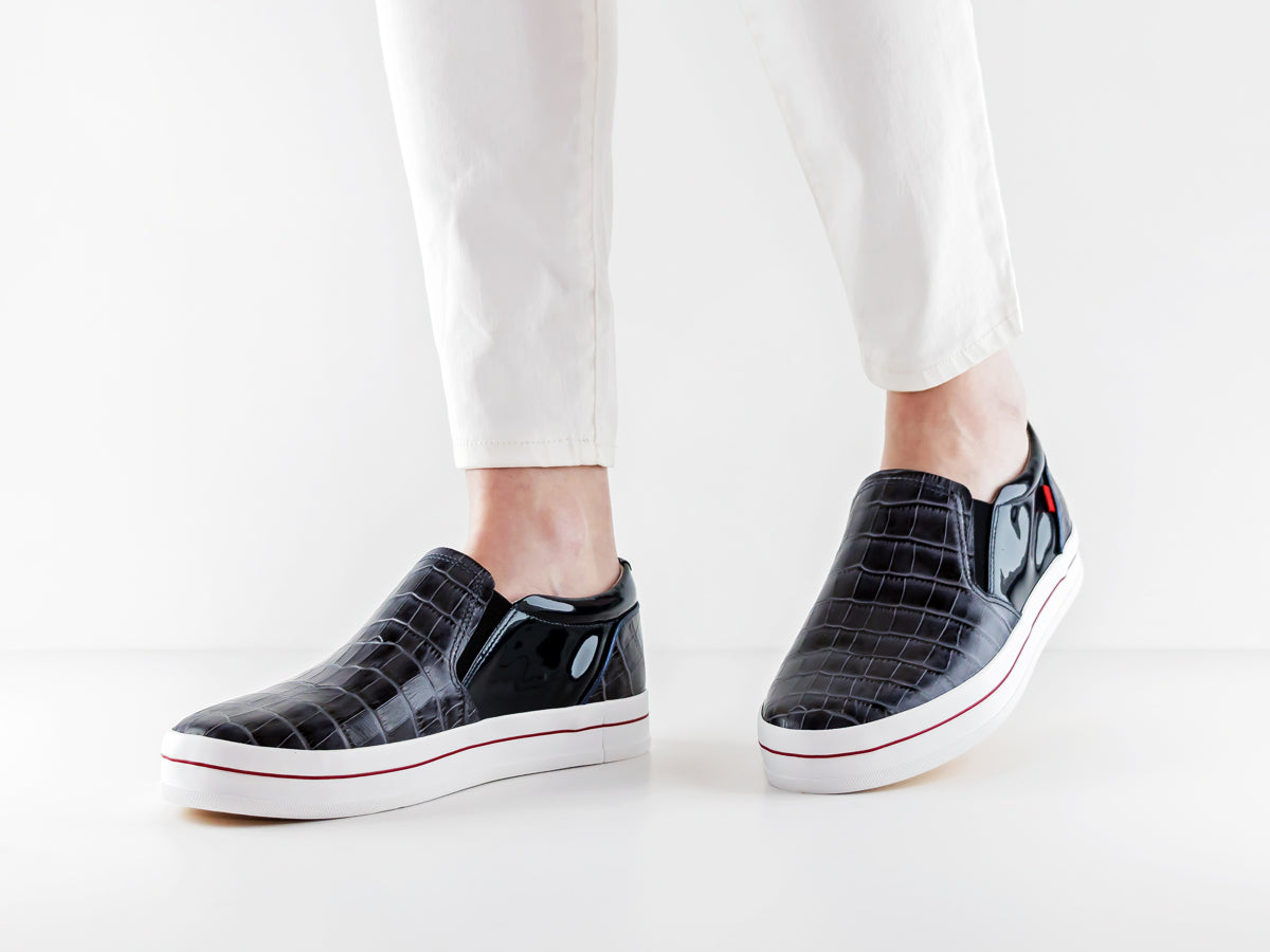 Jamie Ct - Navy Croco