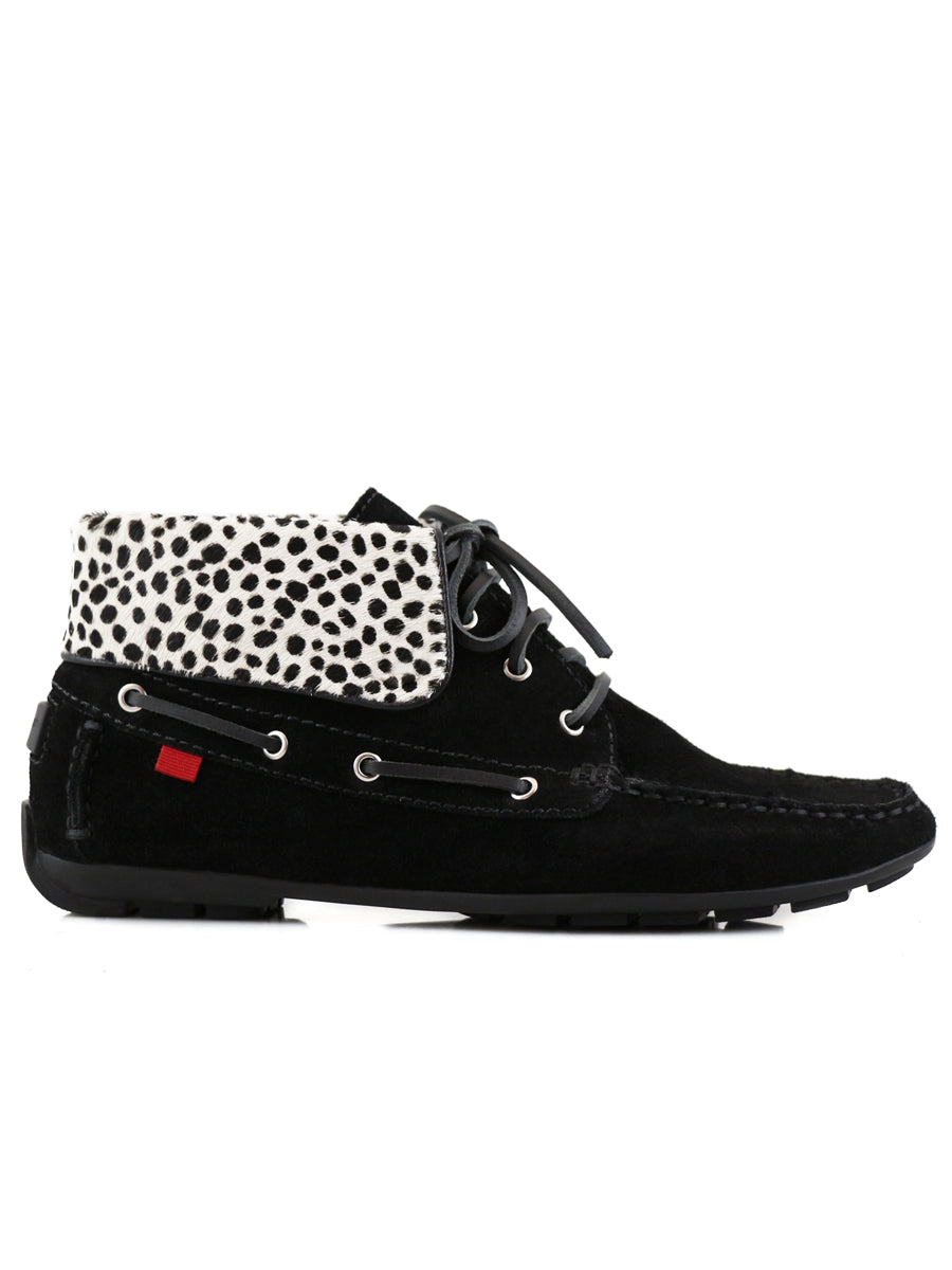 Broadway Driver Bootie - Black Suede & Mini Cheetah
