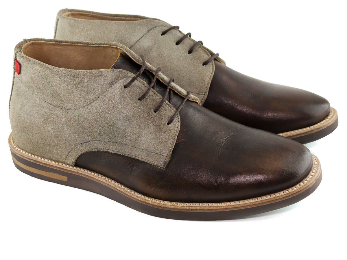 Manhattan Boot - Brown Grainy & Grey Suede