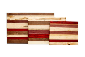 Multicolored face grain cutting board