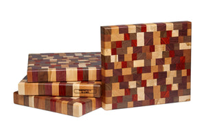 Multicolored end grain cutting board