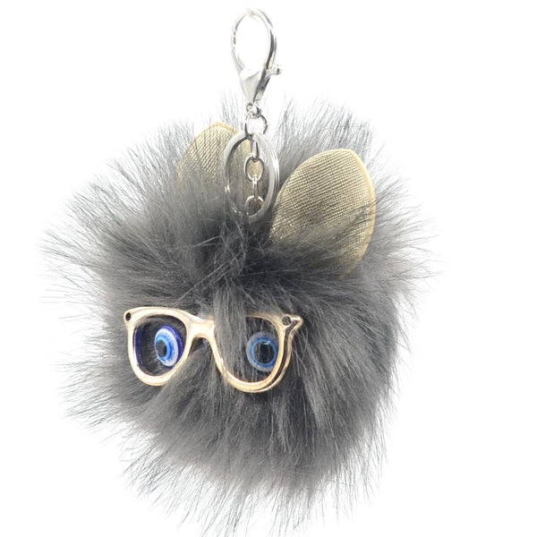 Glasses Face PomPom Keychain - Pack of 12:Mila Lifestyle Accessories