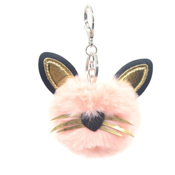 Cat PomPom Keychain - Pack of 12:Mila Lifestyle Accessories
